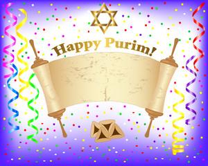 Purim background with Torah scroll.