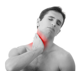 young man holding his neck in pain, isolated on white background
