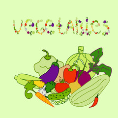 set of vegetables(EPS 8) green background