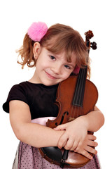 little girl with violin portrait