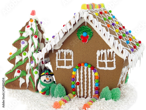 Fotobehang Snoepjes Gingerbread house and christmas tree on the white background