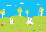 cute easter card with rabbits and trees