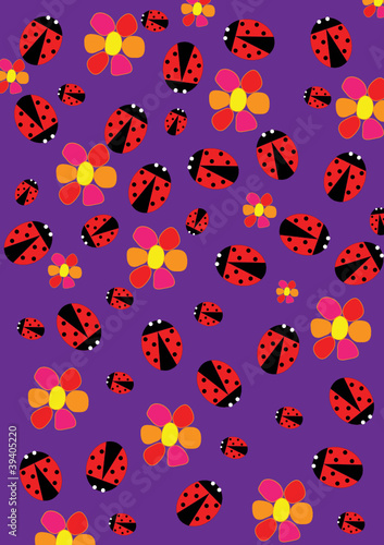 Poster Lieveheersbeestjes Ladybugs and flowers