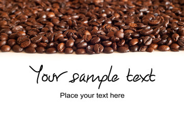 Brown coffee, background with text