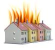 Brennende Häuser
