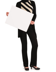 Business woman holding card.