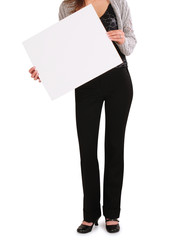 Holding white board.