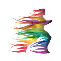 Logo girl runs in the wind # Vector