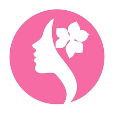 Girl with flower in hair on pink background- vector