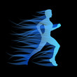 Logo girl runs in the wind on black background # Vector