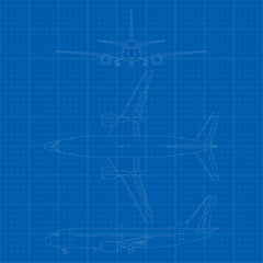 Vector illustration of modern civil airplane 3 side view