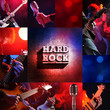 rock live concert collage, guitarist and bassist