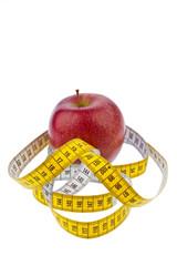 Apfel und Maßband für erfolgreiche Diät