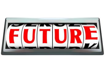 Future Word on Odometer Time Progressing Ahead