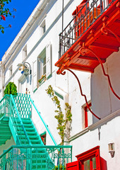 Beutiful street scene in Mykonos island Greece