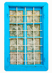 Old colored window in Greek house