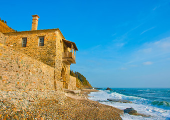 Old house by the sea near monatsery Iviron on Athos Greece