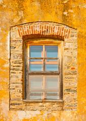 Wooden window  in monastery Iviron on Athos Greece