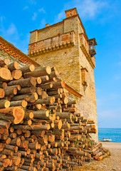 Old building by the sea near Iviron monastery on Athos Greece