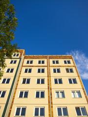 Sanierter Plattenbau mit Baum, Berlin-Mitte