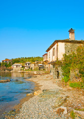 Old houses by the sea near Vatopedi on Athos Greece