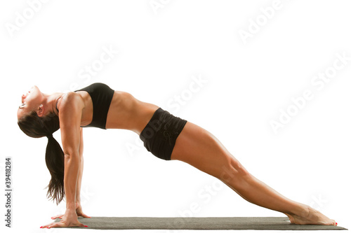 Poster Fitness young yoga female doing yogatic exercise