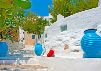 Traditional small street in Chora of Sifnos island Greece
