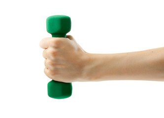 Dumbbell in female hand