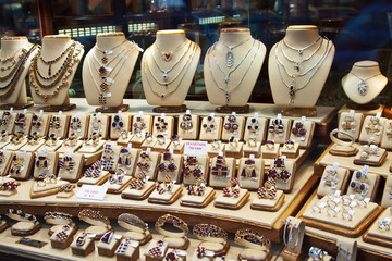 counter with garnet jewelry