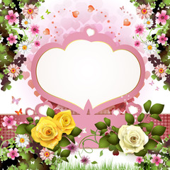 Background with butterflies, hearts and roses