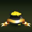 vector cauldron full of gold coins