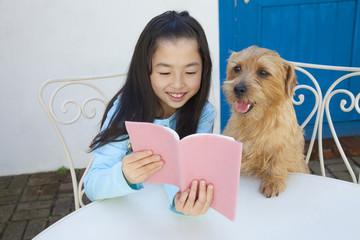 ノーフォークテリアと一緒に本を読む女の子