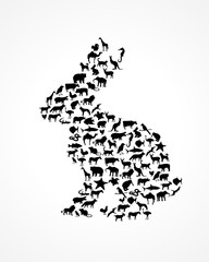 animal silhouettes in rabbit shape