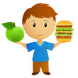 Young men with apple and hamburger