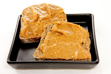Slices of bread with peanut butter