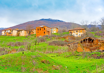 Very old houses in village Gavros near Kastoria in Greece