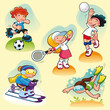 Sport characters with background. Vector illustration.