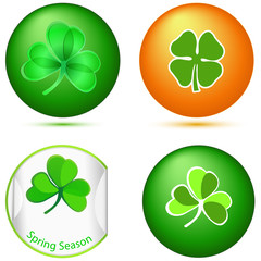 Glossy Shamrock Buttons. Vector