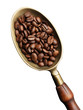 brass scoop with whole coffee beans