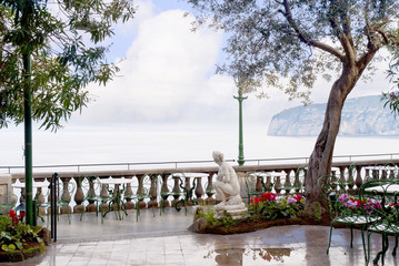 Beautiful terrace over the bay of Naples in Sorrento  Italy
