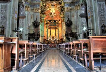 Varallo church aisle lighted