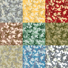 Set of samples of a coloring of a camouflage