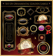 Set Of Ornamental Golden Labels And Medallions Vector