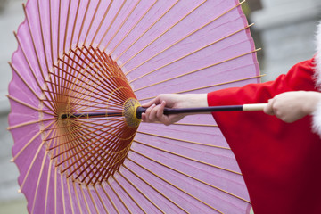 和傘を差す振袖姿の女性の手元