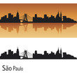 Sao Paulo skyline in orange background
