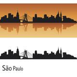 Fototapety Sao Paulo skyline in orange background