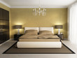 Chic luxury hotel gold, brown, bedroom, with chandelier front