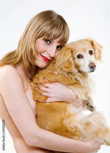 Frau mit Hund
