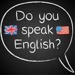 Kreidetafel, Do you speak English, Sprechblase
