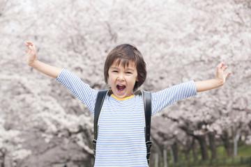 桜の下で手を広げ微笑む小学生男子